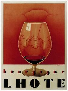 Bourgogne Lhote French Wine C.1930 by Vintage Lavoie