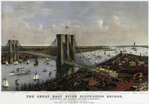 Brooklyn Bridge By Currier and Ives 1885 by Vintage Lavoie