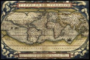 Cosmos-Ortelius World Map 1570 by Vintage Lavoie