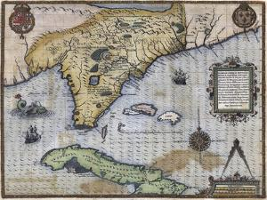 French Map Of Florida - Floridae Americae Provinciae 1564 by Vintage Lavoie