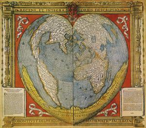 Heart Shaped World Map Stabius-Werner Projection 1500 by Vintage Lavoie