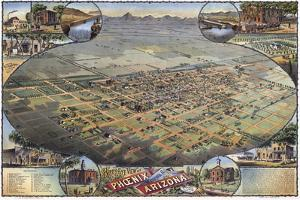 Illustrated Map Of Phoenix With Legend 1885 by Vintage Lavoie