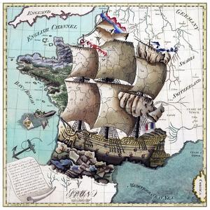 Map Of France As A Ship 1796 by Vintage Lavoie