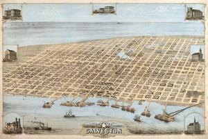 Map Of Galveston Texas 1871 by Vintage Lavoie
