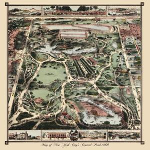 Map Of New York City's Central Park 1860 by Vintage Lavoie