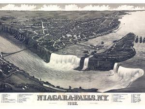 Map Of Niagara Falls With Legend 1882 by Vintage Lavoie