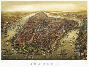New York Map 1874 by Vintage Lavoie
