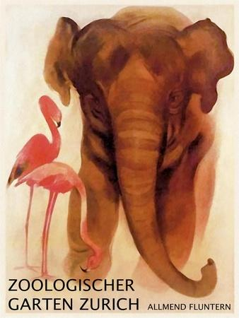 Visit the Zoo 1912 Vintage German Zoo Advertising Giclee Canvas Print 20x28