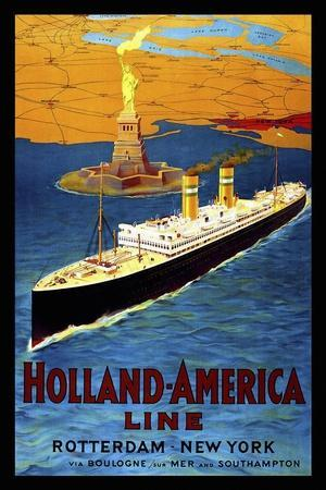 20x28 1920s Holland-America Line Vintage Style Ocean Liner Travel Poster
