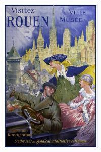 Visitez Rouen, French Vintage Poster Bonnet, Visitez Rouen 1910 by Vintage Lavoie