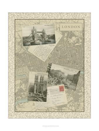 Vintage Map of London-Vision Studio-Art Print