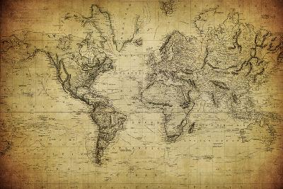 Vintage Map Of The World 1814 Art Print By Javarman Art Com