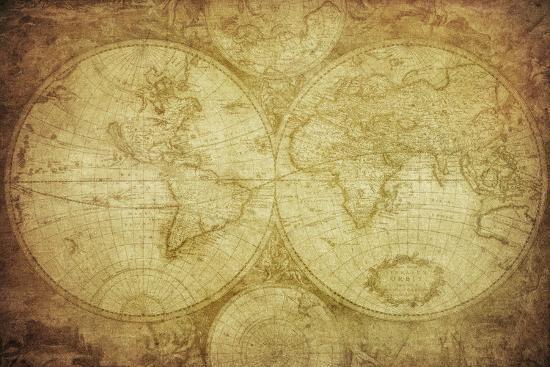 Vintage Map Of The World-javarman-Art Print
