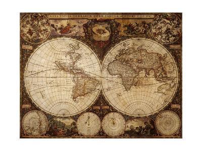 Vintage Map-Kuzma-Art Print
