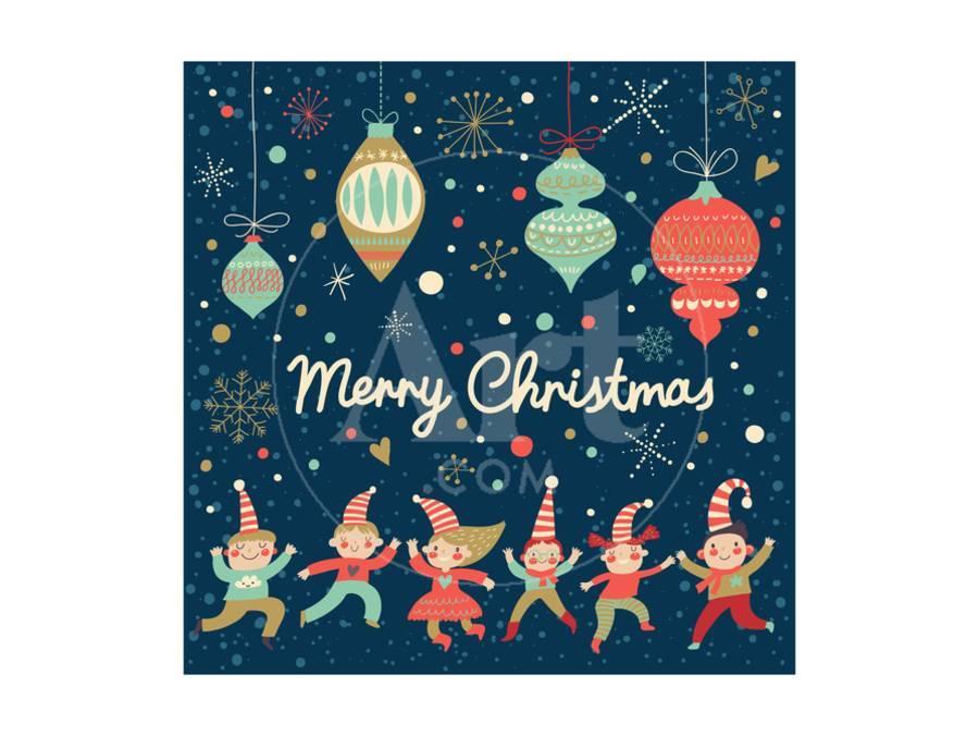 Vintage Merry Christmas Card in Vector. Funny Elves Dancing under ...