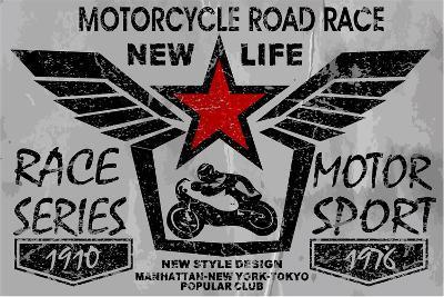 Vintage Motorcycle Labels, Badges and Design Elements-emeget-Art Print