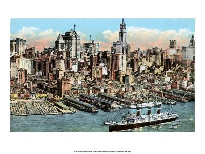 Vintage New York Postcard - Lower Manhattan--Art Print