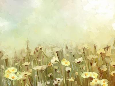 Vintage Oil Painting Daisy-Chamomile Flowers Field at Sunrise.Flower Oil Painting Background-pluie_r-Art Print