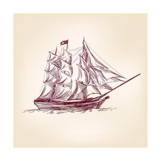 Vintage Old Ships Illustration.-VladisChern-Art Print