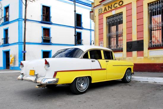 Vintage Oldtimer Car in the Streets of Camaguey, Cuba-dzain-Photographic Print