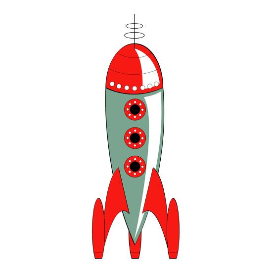 Vintage or Retro Fifties Sci Fi Style Rocket or Spaceship.-Clip Art-Photographic Print