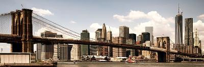 Vintage Panoramic, Skyline of NYC, Manhattan and Brooklyn Bridge, One World Trade Center, US-Philippe Hugonnard-Photographic Print