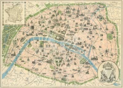 Vintage Paris Map Art Print by The Vintage Collection | Art.com