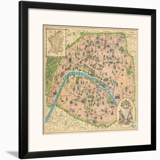 Vintage Paris Map Framed Art Print by The Vintage Collection | Art.com
