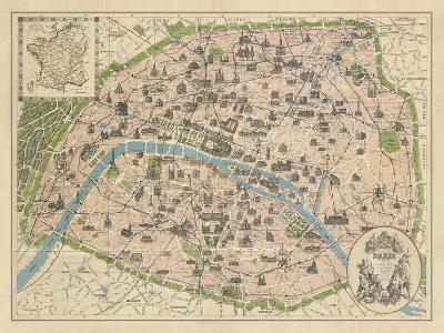 Vintage Paris Map-The Vintage Collection-Giclee Print