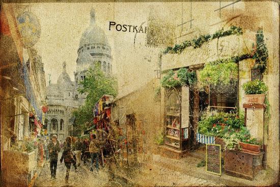 Vintage Parisian Cards Series - Montmartre Street-Maugli-l-Art Print