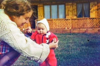 Vintage Photo - Mother with Baby Daughter, Early Eighties-Elzbieta Sekowska-Photographic Print
