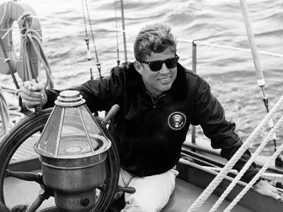 Vintage Photo of President John F. Kennedy Sailing Aboard His Yacht--Photographic Print