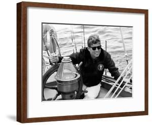 Vintage Photo of President John F. Kennedy Sailing Aboard His Yacht