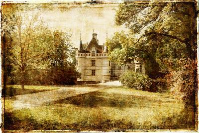 Vintage Picture With Castle-Maugli-l-Art Print