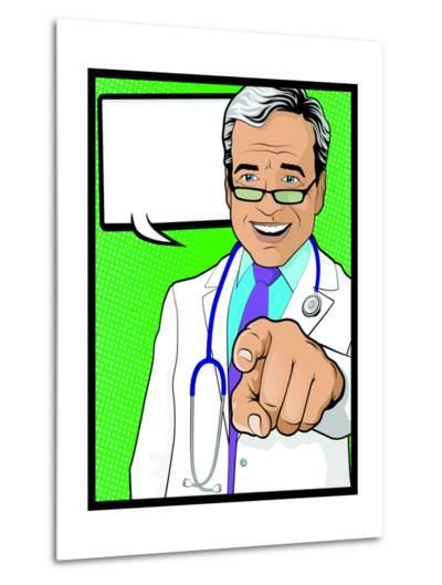 Vintage Pop Art Doctor with Pointing Hand-jorgenmac-Metal Print