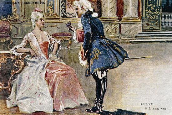 Vintage Postcard Depicting Scene from Second Act of Adriana Lecouvreur--Giclee Print