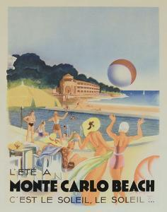 Monte Carlo Beach, 1931 by Vintage Poster
