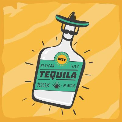 Vintage Poster with a Tequila Bottle.- ne2pi-Art Print
