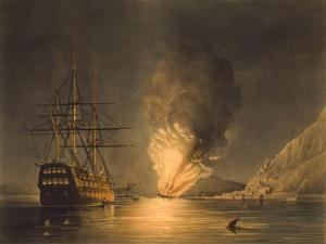 Vintage Print Featuring the Explosion of the U.S. Steam Frigate Missouri, at Gibraltar