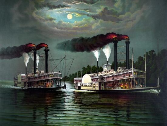 Vintage Print Featuring the Race of Steamboats Robert E. Lee and Natchez--Art Print