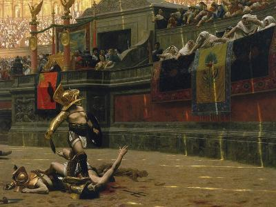 Vintage Print of a Roman Gladiator with His Defeated Opponent-Stocktrek Images-Art Print