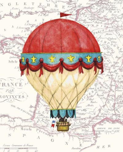 Vintage Red Air Balloon-Hope Smith-Art Print