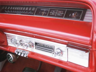 Vintage Red Dashboard of Car--Photographic Print
