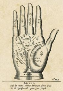 Palmistry: Palm Diagram by Vintage Reproduction