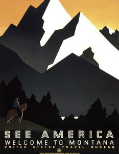 See America - Welcome to Montana II by Vintage Reproduction