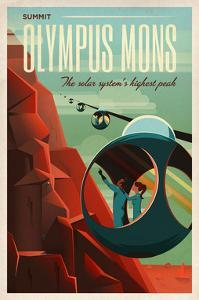 Space X Mars Tourism Poster for Olympus Mons by Vintage Reproduction