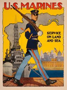 U.S. Marines, Service on Land and Sea by Vintage Reproduction