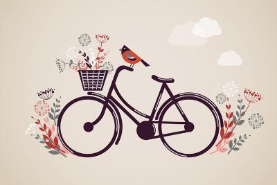 Vintage Retro Bicycle Background with Flowers and Bird-Marish-Art Print