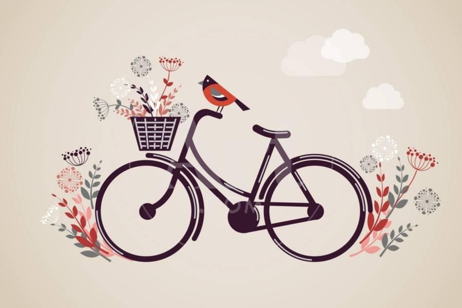 Vintage Retro Bicycle Background with Flowers and Bird Art Print by Marish  | Art com