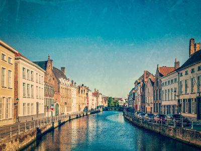 Vintage Retro Hipster Style Travel Image of Canal and Medieval Houses. Bruges (Brugge), Belgium Wit-f9photos-Photographic Print
